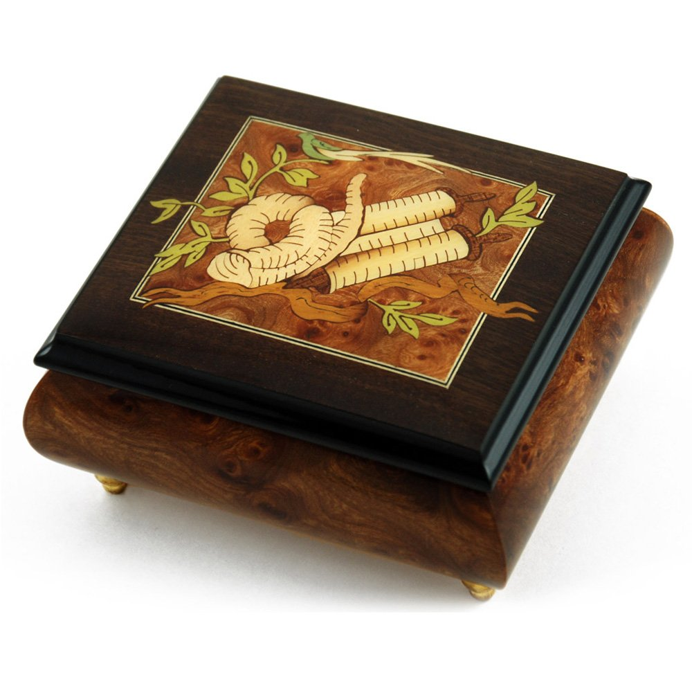 Gorgeous Hand Made Musical Jewelry Box with Torah Wood Inlay - Rock of Ages (Ma'oz Tzur) - Jewish Version