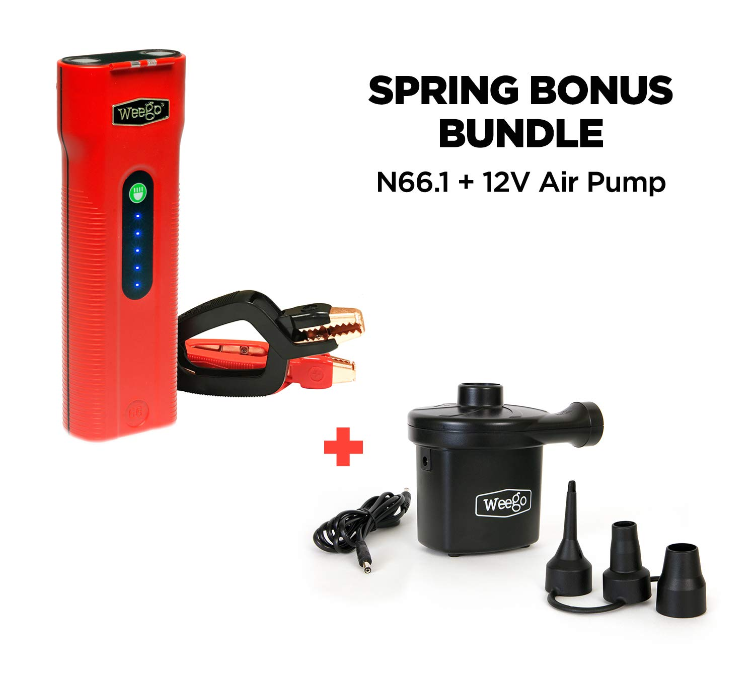 WEEGO 66.1 Jump Starting Power Pack with SPRING BONUS Weego 12V Air Pump for Inflatables, 600 Cranking Amps, New Model, Lithium Ion, 600 Lumen LED Flashlight, Quick-Charges Phones, Water Resistant