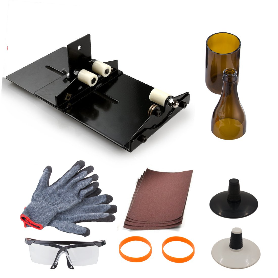 Wine Bottle Cutting Tool Kit, AceList Stained Glass Cutting Tool Kit Wine Jar Etching for DIY Glassware w/Protective Goggle Glove Glastopper