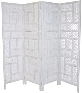 4 Panel Heavy Duty Indian Screen Wooden Screen Divider Circle Jali  177x183cm[White]