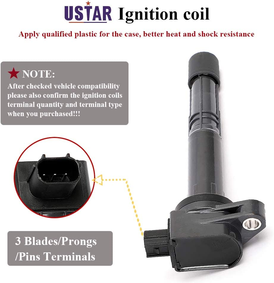 USTAR Ignition Coils 4 Pack for Honda Accord Civic CRV Crosstour Acura ILX Engine L4 2.4 Replaces 30520-R40-007