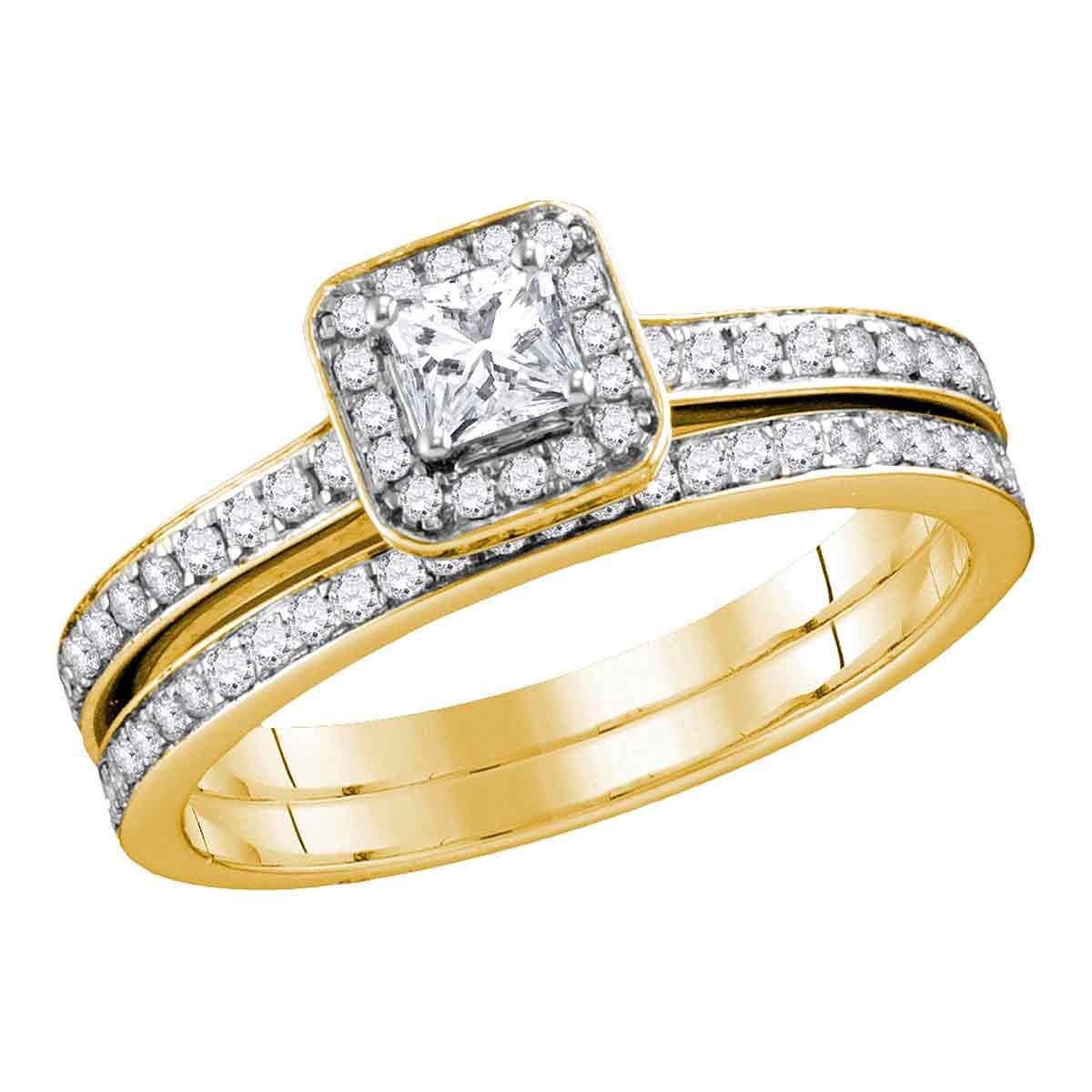10kt Yellow Gold Womens Princess Diamond Bridal Wedding Engagement Ring Band Set 5/8 Cttw