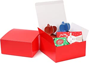 Cardboard Gift Boxes Gift Boxes Kraft BoxesFavor for Bridesmaid Proposal/Birthday/Party/Wedding Lids Decorative Gift Wrap Boxes Easy Assemble Bridesmaids Proposal Boxes (Red, 8x8x4in-10pack)