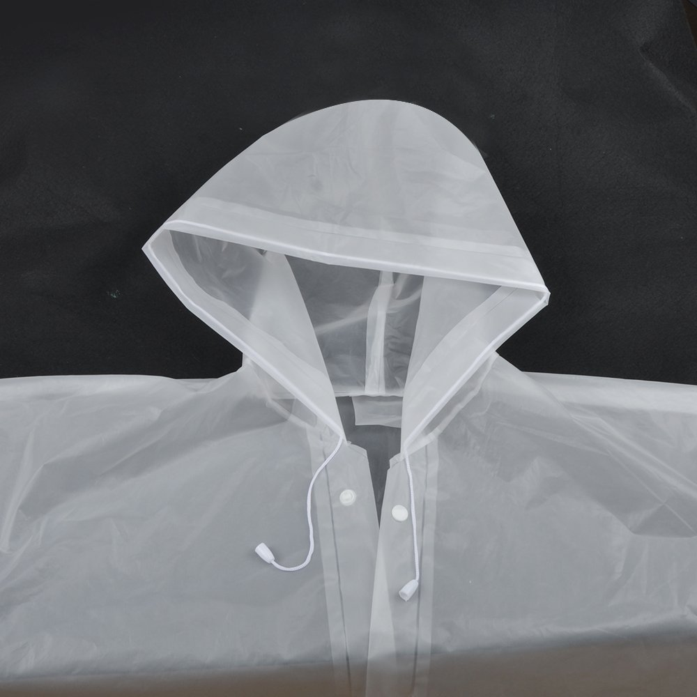 Alotpower Rain Poncho with Hood and Sleeves for Trip White