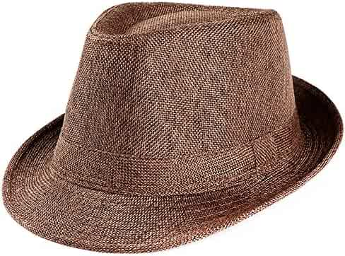 be0d62d13ea Bokeley Men's Fedoras, Straw Fedora Panama Sun Summer Beach Hat Cuban Trilby  Men Women (