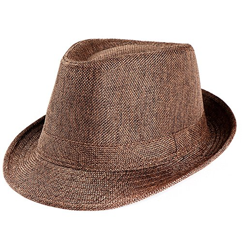 57e329a2 Unisex Men Women Straw Hat Wide Brim Beach Sunhat Gangster Jazz Cap  Adjustable Outdoor Fisherman Cap