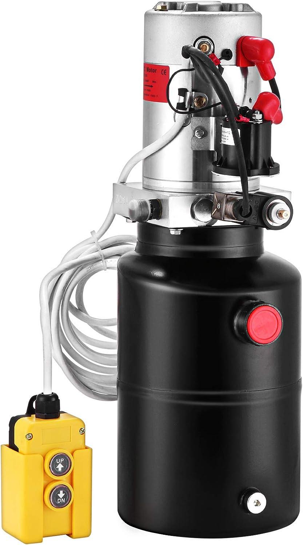 BuoQua Bomba Hidráulica con Simple Efecto 6L, para Remolque de Coches, Depósito de Acero, Bomba Hidráulica Remolque Tanque 12V, Bomba Hidráulica con Efecto Simple, para Remolque Volquete