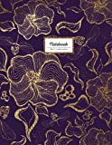 Notebook - 8.5 x 11 Lined Journal: Faux Glitter, Gold And Purple, Large Floral Softcover (Flower Notebook)