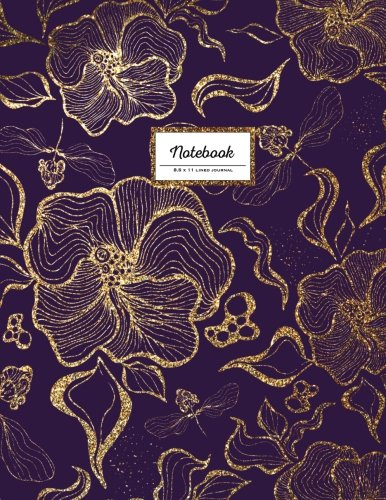 (Notebook - 8.5 x 11 Lined Journal: Faux Glitter, Gold And Purple, Large Floral Softcover (Flower Notebook))