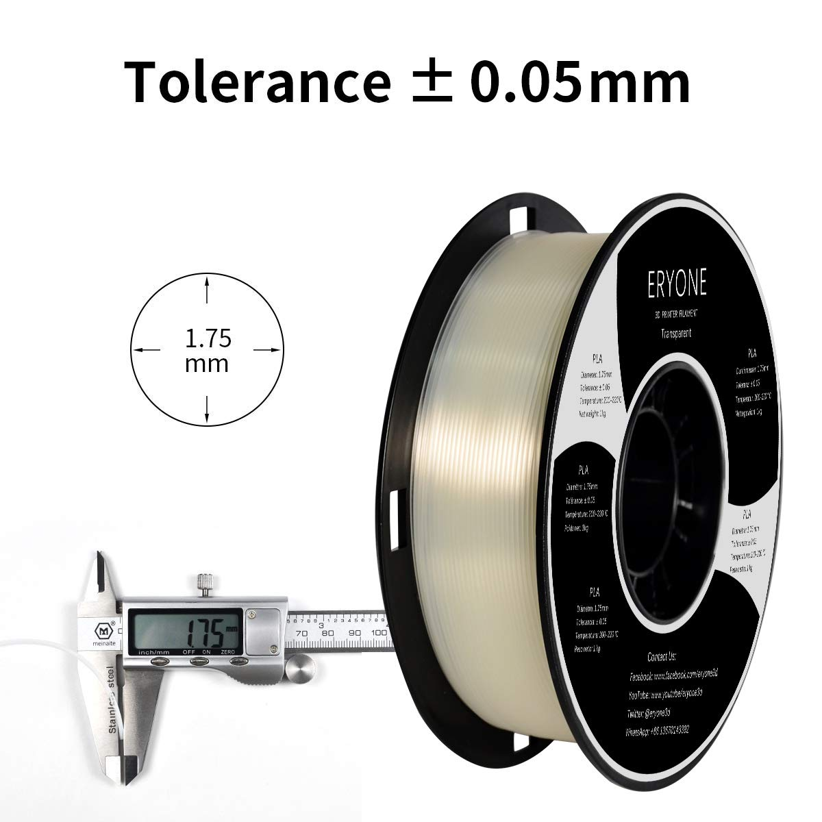 Eryone PLA Filamento 1.75mm 1kg 1 Spool Filamento PLA 1.75mm Stampante 3D Filamento PLA Per Stampante 3D Trasparente