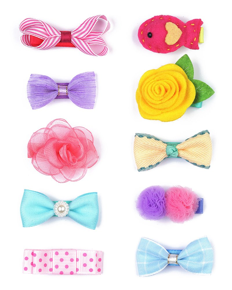 Belle Beau Baby Girls Hair Bows, Hair Clips, Ribbon Lined Alligator Hair Clips (Z-Dix-M)