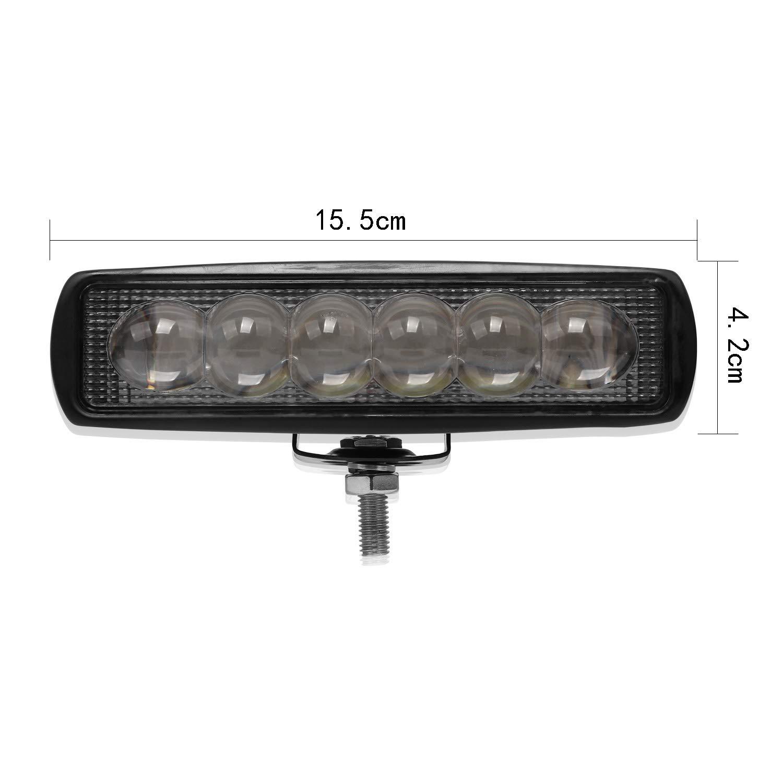 1 ST/ÜCK 18 Watt LED Auto Arbeit Lichtleiste wasserdichte DRL Licht Motorrad LKW Anh/änger LKW Offroad Arbeitslampe 10-30 V Winbang Fahrlicht 16 Zoll
