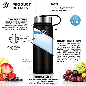 Stainless Steel Water Bottle/Thermos: ​64 Oz.​ Double Walled Vacuum Insulated Wide Mouth Travel Tumbler, Reusable BPA Free Twist Lid Bottles for Hot or Cold Liquid: Bonus Flip & Straw Lids - ​Black