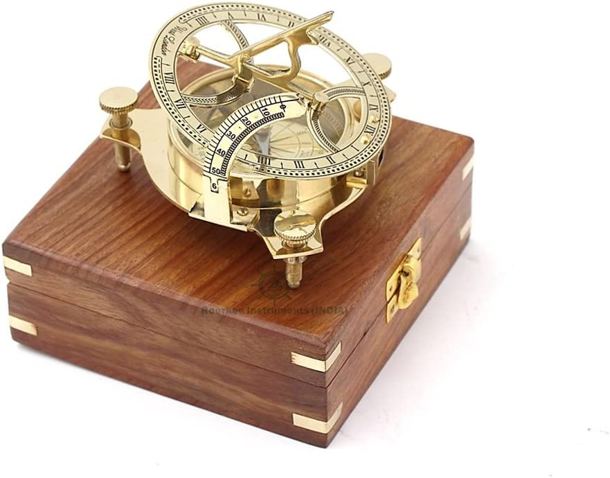 "Brass 3/"" Sundial Compass F.L West And West London Polish Finish W// Wooden Boxes"