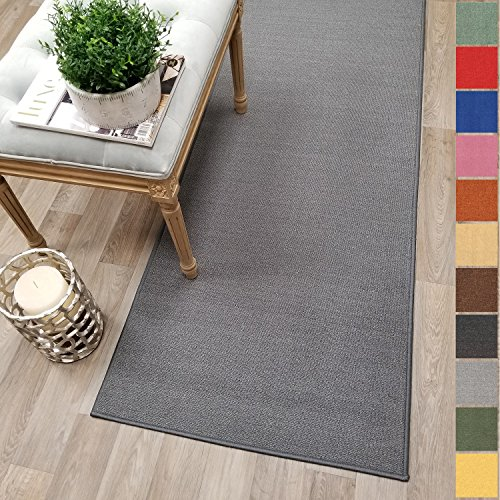 Custom Size GREY Solid Plain Rubber Backed Non-Slip Hallway Stair Runner Rug Carpet 22 inch Wide Choose Your Length 22in X 6ft (Hallway Runner Rugs)