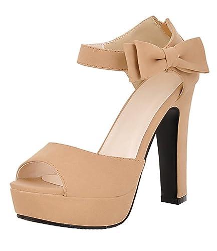 682300b4820 Vitalo Women s High Heeled Ankle Strap Platform Bow Sandals Peep Toe Back  Zip Party Dress Pumps