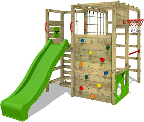 FATMOOSE Parque infantil de madera ActionArena con tobogán manzana verde, Área de juegos da exterior, pared de escalada Sueco con pared de escalada ...