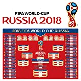 #3: KOMIWOO Russia 2018 World Cup Wall Chart Poster Customized with US EST TIME, 16x24 Inches 2018 FIFA World Cup Poster