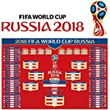 KOMIWOO Russia 2018 World Cup Wall Chart Poster Customized with US EST TIME, 16x24 Inches 2018 FIFA World Cup Poster