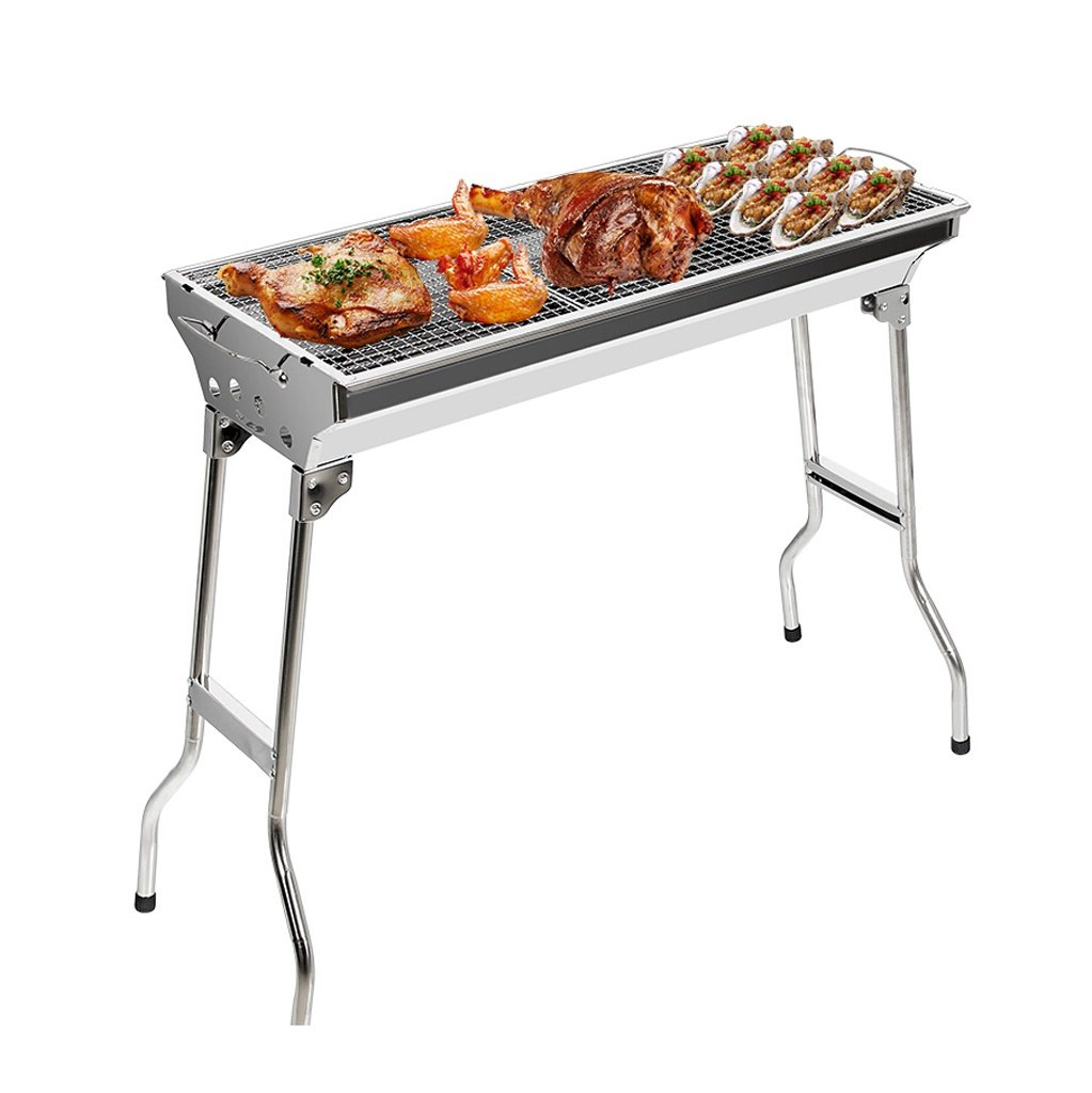 ALUS- Stainless Steel Barbecue Stove Outdoor Portable Charcoal Oven Folding Home Barbecue Set Thickening/Durable/Do Not Paint/Hot (733369CM) (Barbecue + 7 Accessories)