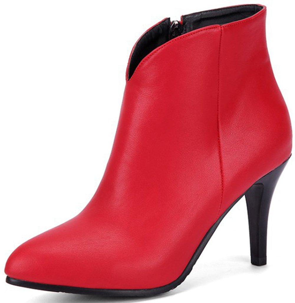 Aisun Damen Sexy Spitz Zehen Kunstleder Spitz Zehen Knöchelhoch Reißverschluss Trichterabsatz Stiefel Rot 33 EU mWnksRPiI