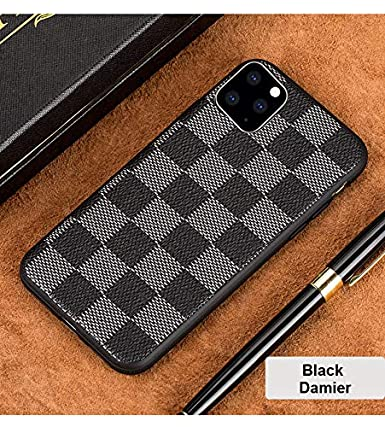 365SHOP Luxury Designer iPhone 11 Pro Max Case, iPhone XI Pro Max Monogram  Damier Case, LV Elegant Chess Board Leather Case Defender Shockproof Rubber