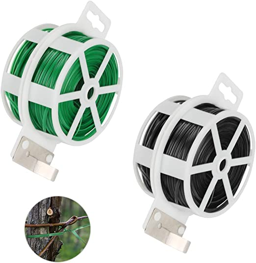 Achort Cuerda de Alambre plastificado para el jardín, Alambre plastificado Home Office Reutilizable Cable artesanía Accesorios 100m, 2pcs (Verde, Negro): Amazon.es: Jardín