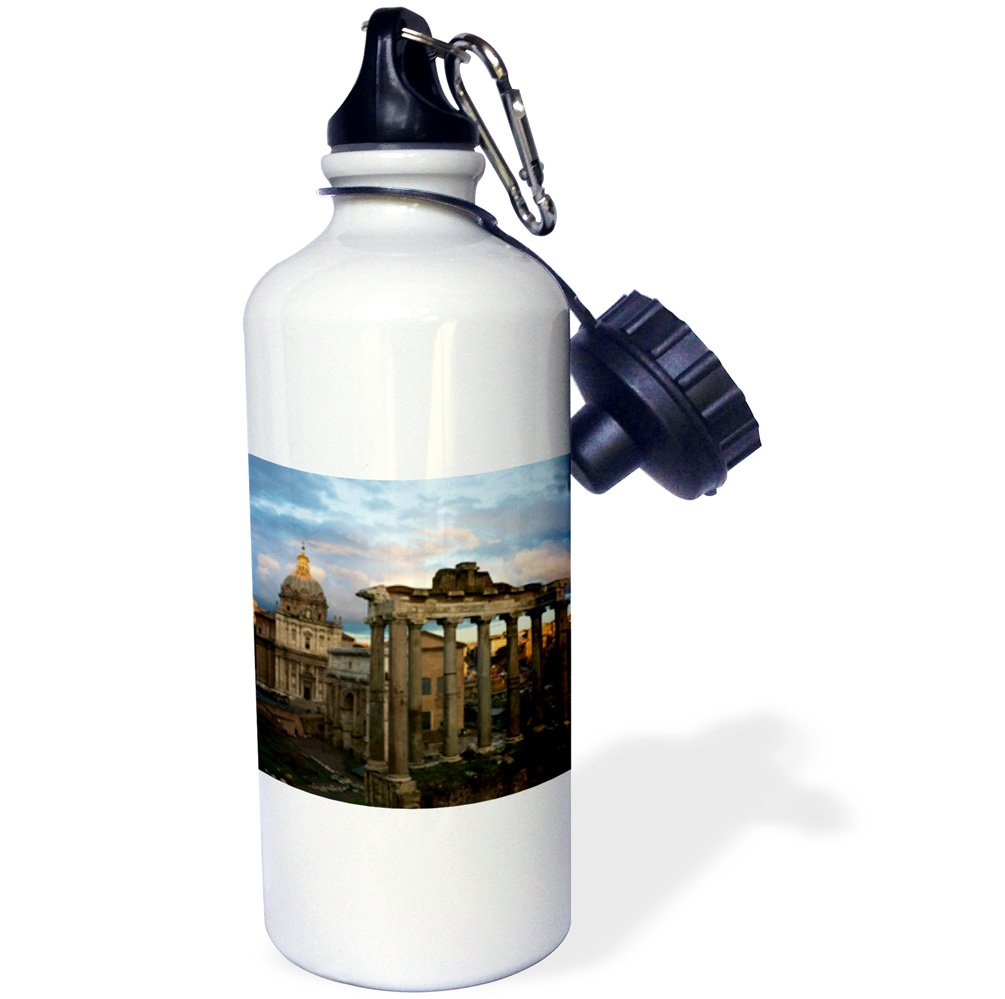 3dRose wb_82106_1'' Forum, Rome, Italy EU16 DBN0183 David Barnes Sports Water Bottle, 21 oz, White