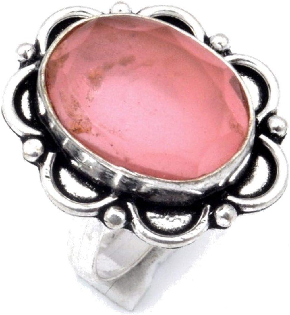 Shivi Anillo Cuarzo Rosa Rosa Talla 8 US! ¡Arte de joyería Chapado en Plata de Ley con Gemas simuladas de la Mejor Calidad! Hecho a Mano