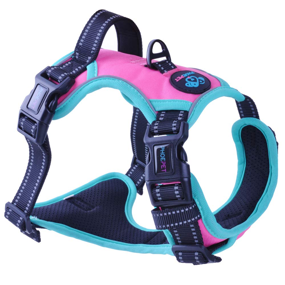 PHOEPET 2019 Upgraded No Pull Dog Harness,3M Reflective Adjustable Vest, with a Training Handle + 2 Metal Leash Hooks+ 3 Snap Buckles +4 Slide Buckles(M, Pink) by PHOEPET