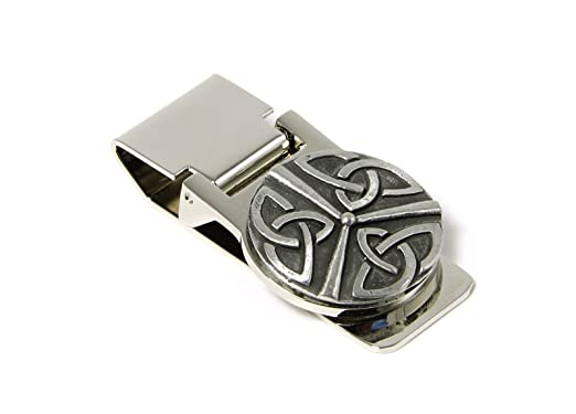 1d97c0a9b1f8 Amazon.com: Money Clip Spring Loaded Stainless Steel & Pewter Irish ...
