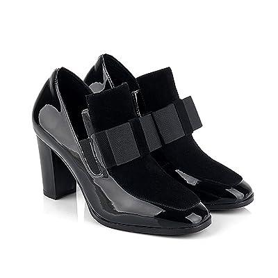 azmodo Women Knots Thick Heel Platform Pumps Heels with Bow Black Boots   Pumps