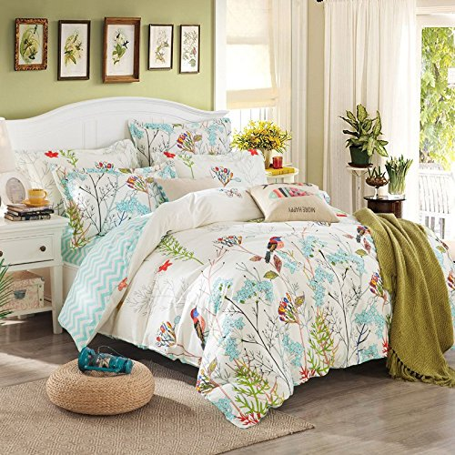 TheFit Paisley Textile Bedding for Adult U755 Garden Floral and Bird Duvet Cover Set 100% Cotton, Queen Set, 4 Pieces by TheFit