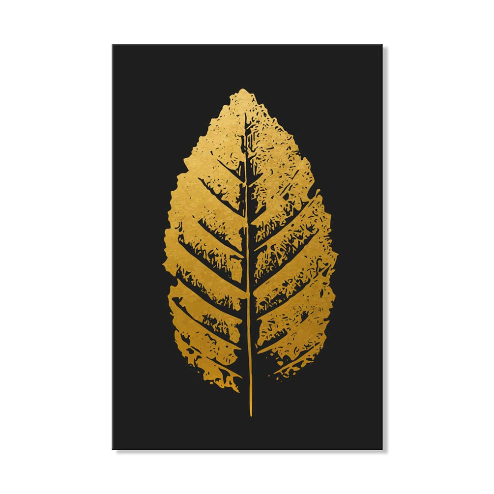 7CANVAS Tropical Leaf Prints-Golden Leaf Picture with Black Background Wall Art Stretched Canvas Leaf Poster for Wall Decor Ready to Hang 20x28 Inch 7 CANVAS