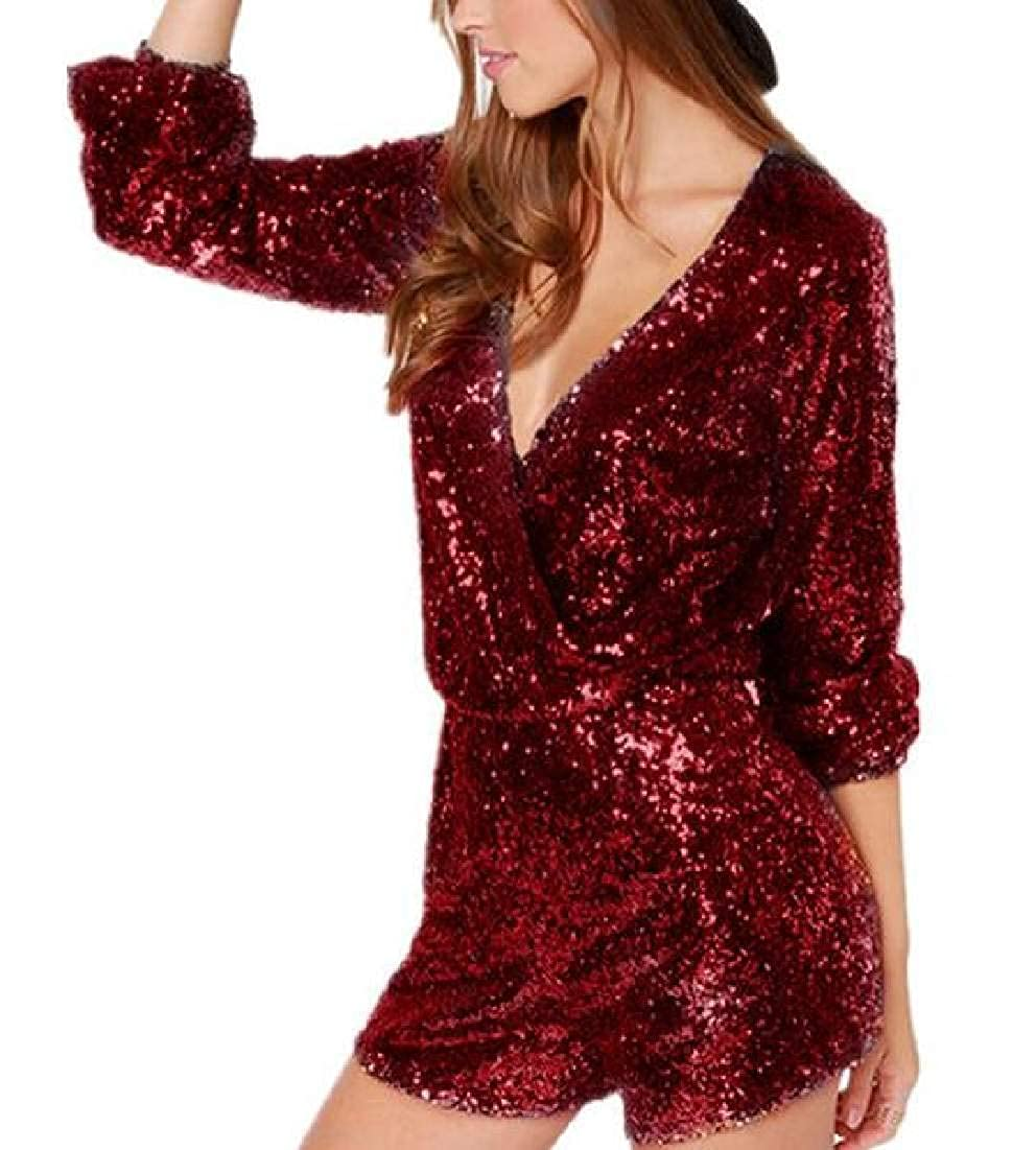 Zantt Womens Sequins Tunic Deep V-Neck Long Sleeve Party Short Jumpsuit Romper
