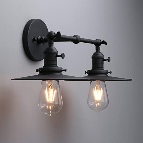 Phansthy 2 Lights Sconce with Switch Matte Black Vanity Light with Dual 7.87 Inches Flat Crafted Light Shade Matte Black