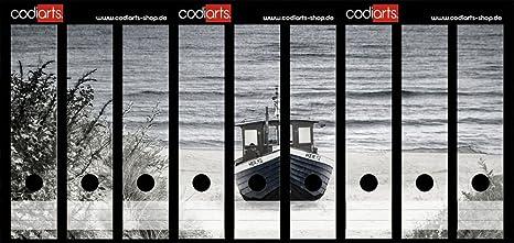 Juego 9 pieza carpeta de etiquetas autoadhesivas archivadores Pegatinas Duna Visión para barco blanco y negro