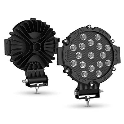 "51W Round Spot Lights 2PCS 7"" Black Led Offroad light pods bar Fog Driving Roof lights Bumper for SUV, Truck, ATV, SUV: Automotive"