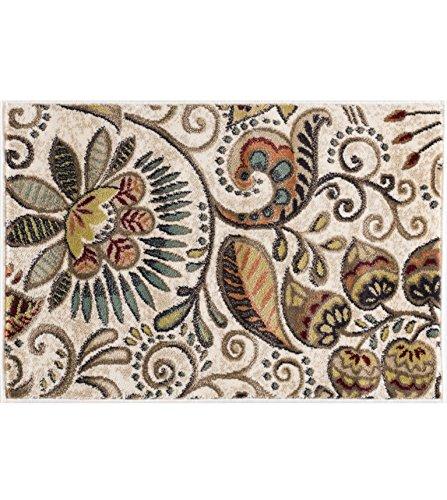 Leaves Transitional Rug - Giselle Transitional Floral Ivory Scatter Mat Rug, 2' x 3'