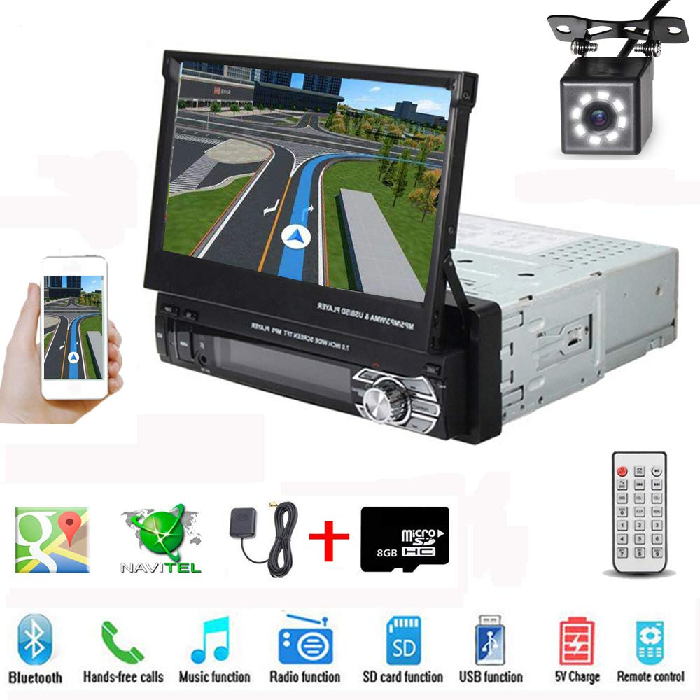 Hikity Single Din Car Stereo GPS Navigation 7 Inch HD Touch Screen Foldable Bluetooth Mp5 Multimedia Player Support Android Phone Mirror Link + Backup Camera with Map Card