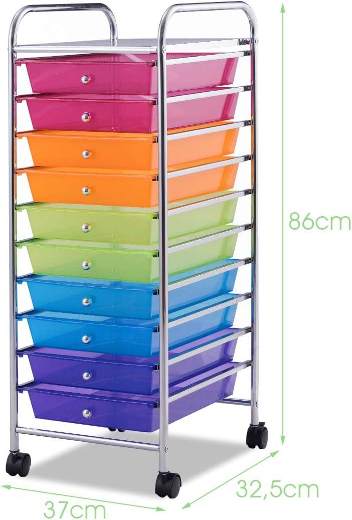 Bagni Colorato Cucine Goplus Carrello con 10 Cassetti con Ruote Ideale per Uffici Colori Disponibili Parrucchieri