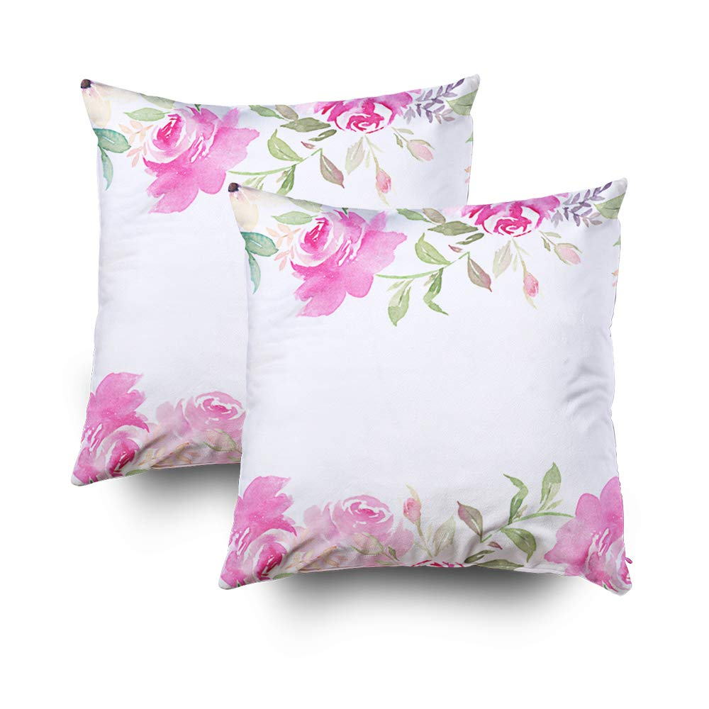 TOMWISH Hidden Zippered 20X20Inch Beautiful Floral Pattern Flower Elegance Pink Roses Background Decorative Throw Cotton Pillow Case Cushion Cover for Home Decor