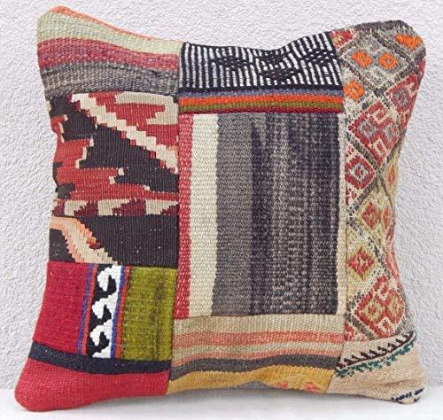 (Decorative Vintage Kilim Patchwork Rug Pillow with Modern Sytle, Flat-Weave Kilim Rug Cushion, Turkish Kilim Pillow Cover 16'' x 16'' (40 x 40)