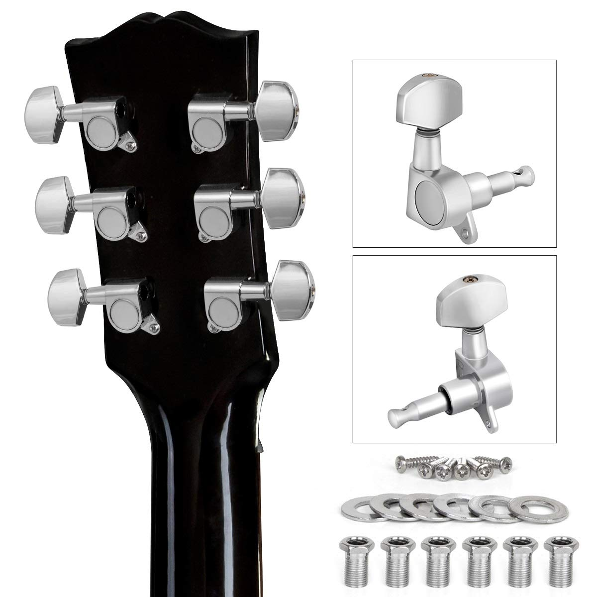 lotmusic Guitar Tuning Pegs, Tuners Machine, 18:1 3L3R, Tuner Keys Heads, Closed Chrome for Guitars Luthier DIY Repair (Shape A)