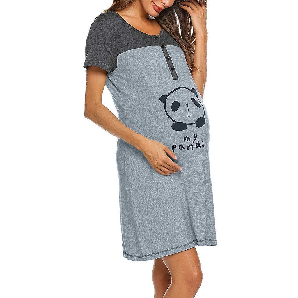 Maternity Dress for Women Maternity Cute Animal Print Dress Short Sleeve Cute Print Nursing Nightdress Breastfeeding Dress