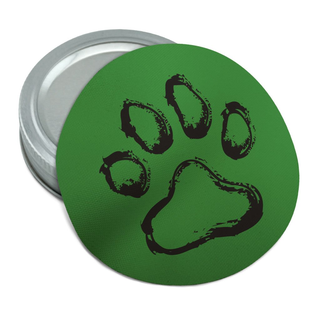 Paw Print Dog Cat Pet on Green Round Rubber Non-Slip Jar Gripper Lid Opener Graphics and More