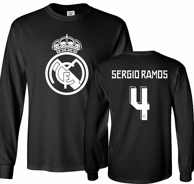 best service 3b6b9 0a53d Tcamp Real Madrid Shirt Sergio Ramos #4 Jersey Men's Long Sleeve T-shirt