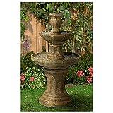 John Timberland Tuscan Garden Classic Outdoor Floor Water Fountain 41 1/2' High 3 Tier for Yard Garden Patio Deck Home
