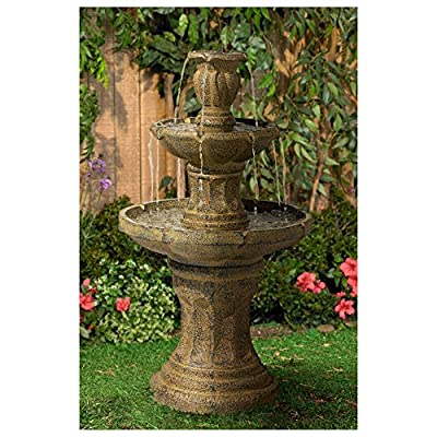 """John Timberland Tuscan Garden Classic Outdoor Floor Water Fountain 41 1/2"""" High 3 Tier for Yard Garden Patio Deck Home - 41 1/2"""" high x 23"""" wide x 23"""" deep x 4-foot cord. Weighs 35 lbs. Tuscan Garden water fountain by John Timberland. Three levels of water creates a pleasing, soothing sound. - patio, outdoor-decor, fountains - 61s13PLH%2BWL. SS400  -"""
