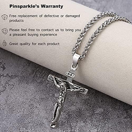 Pinsparkle Cross Necklaces For Women Men Crucifix Necklace Women Cross Necklace Jesus Necklace Silver Cross Chain